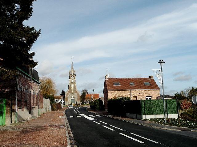 Awoingt 59 l eglise saint martin et la rue pasteur