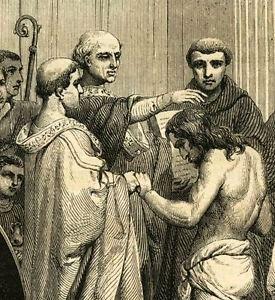 Baptème de Clovis, gravure du XIXe