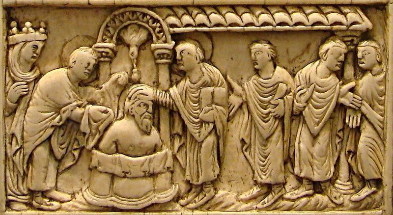 Baptème de Clovis Ier, plaque en ivoire du IXème siècle