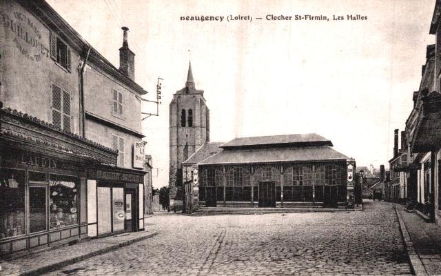 Beaugency (45) Clocher Saint-Firmin et les Halles CPA