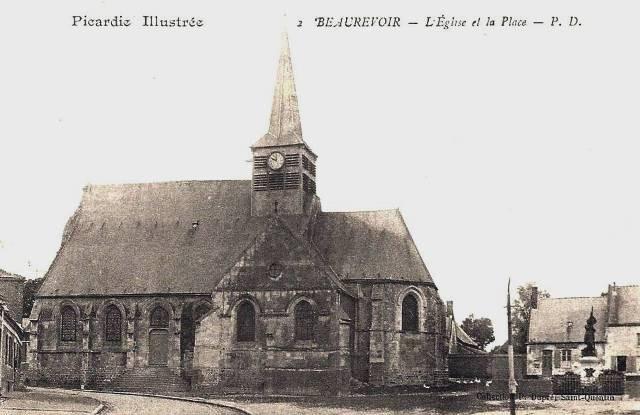 Beaurevoir aisne cpa eglise et place jeanne d arc