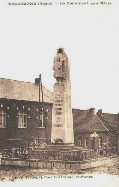 Beaurevoir aisne cpa monument aux morts