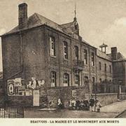 Beauvois en cambresis 59 la mairie et le monument aux morts cpa
