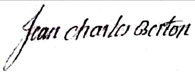 Berton Jean Charles (1731/1810), sa signature en 1766