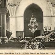 Blanzy (Saône-et-Loire) L'église Saint Pierre et Saint Paul, passage du cyclone CPA