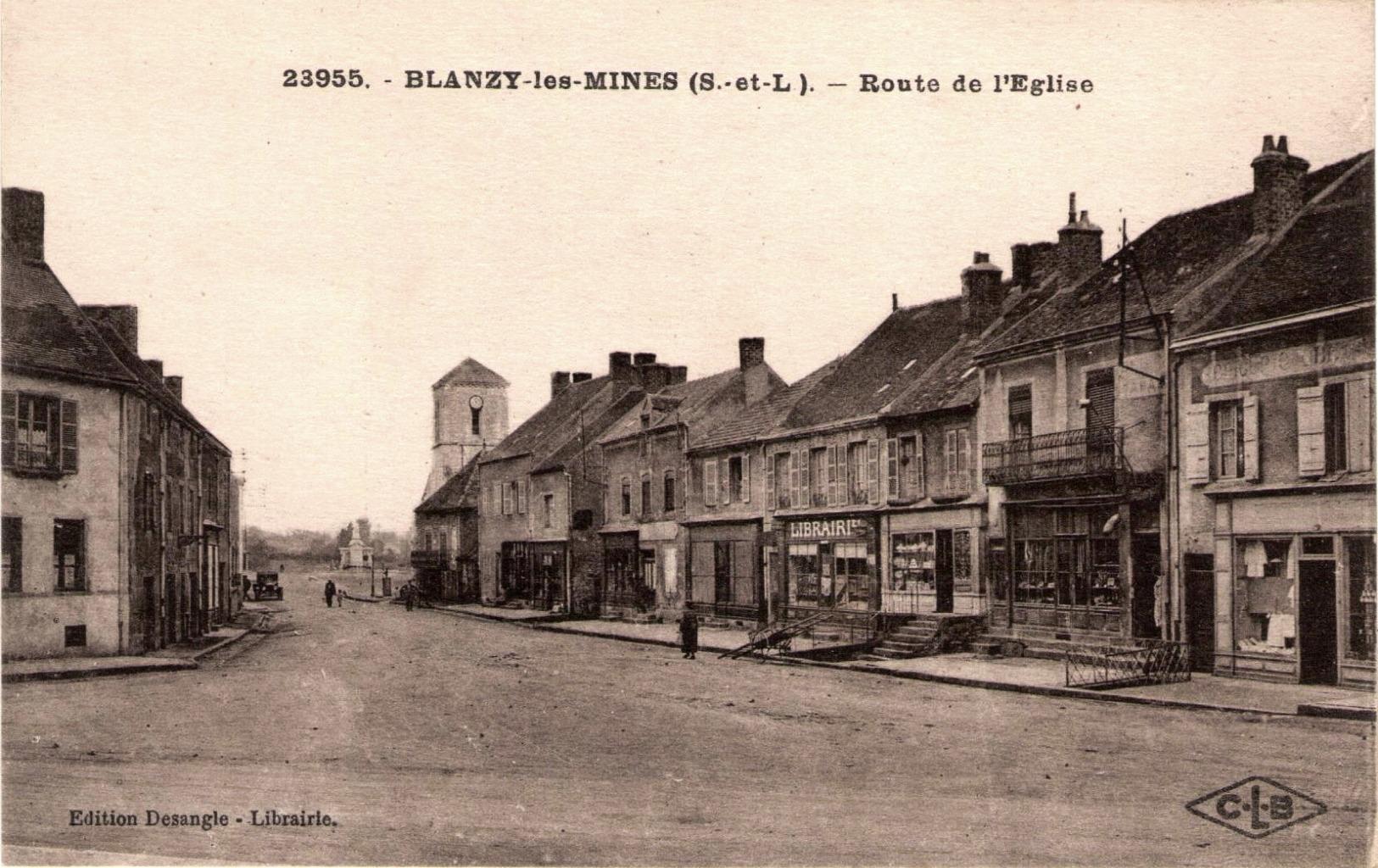 Blanzy (Saône-et-Loire) La route de l'église CPA