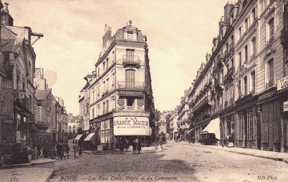 Blois (41) Rues Denis Papin et du Commerce CPA