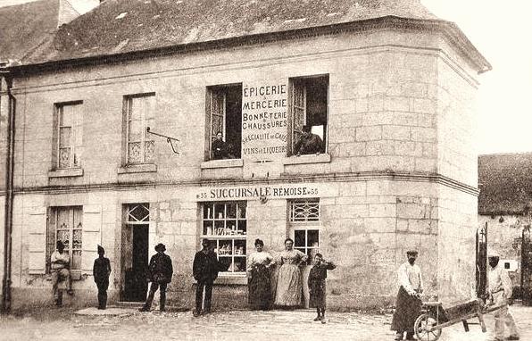 Bouconville-Vauclair (Aisne) CPA Café-épicerie-mercerie-billard
