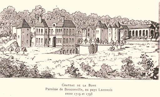 Bouconville-Vauclair (Aisne) CPA Château de La Bove gravure 1719-1793