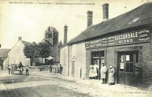 Bourg-et-Comin (Aisne) CPA Grande rue et Goulet Turpin