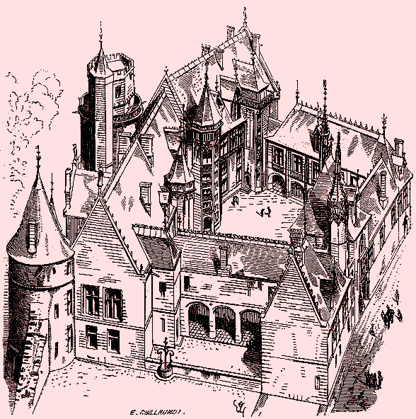 Bourges (18) Le Palais Jacques Coeur, gravure 1890