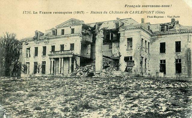 Carlepont oise cpa le chateau apres 1914 1918