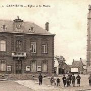 Carnieres 59 l'eglise et la mairie cpa
