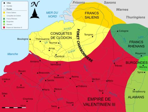 Carte des conquêtes de Clodion dit le Chevelu
