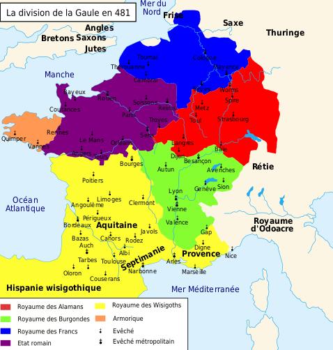 Carte de la Gaule avant le décès Childéric