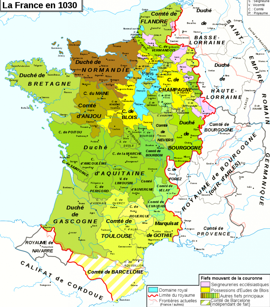 Le royaume des Capétiens en 1030