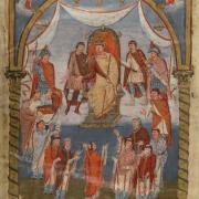 Charles II dit le Chauve recevant des moines enluminure du IXe