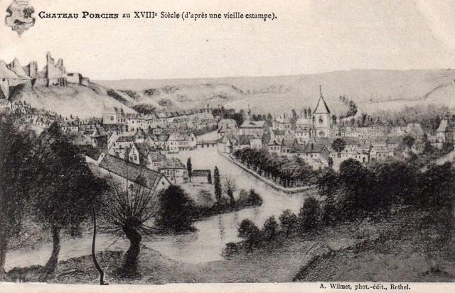 Château-Porcien (08) Gravure du XVIIIème siècle CPA