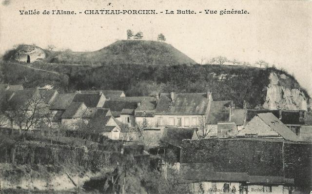 Château-Porcien (08) Vue générale, la butte CPA