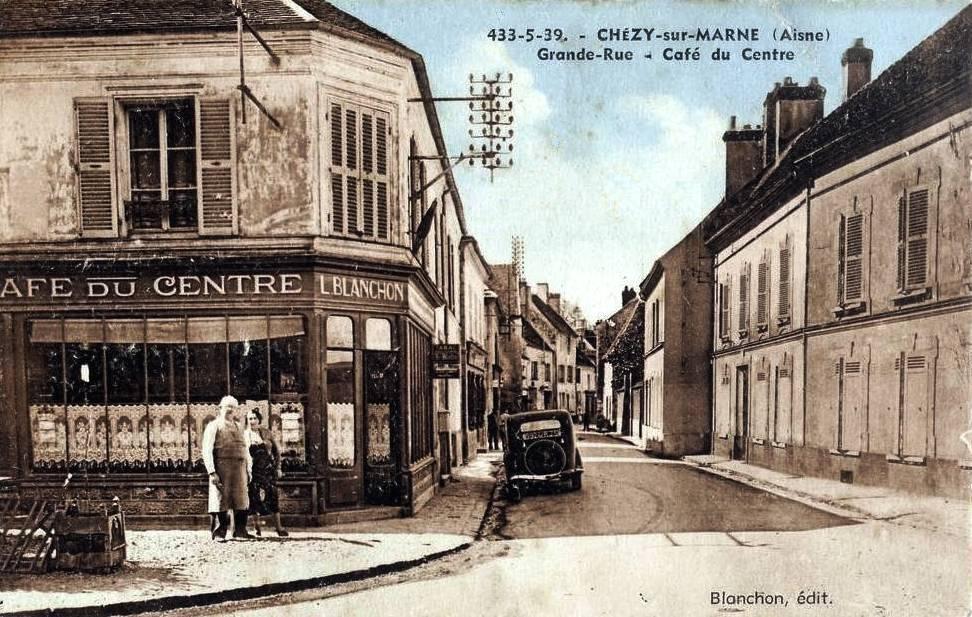 Chézy-sur-Marne (Aisne) CPA Café Blanchon