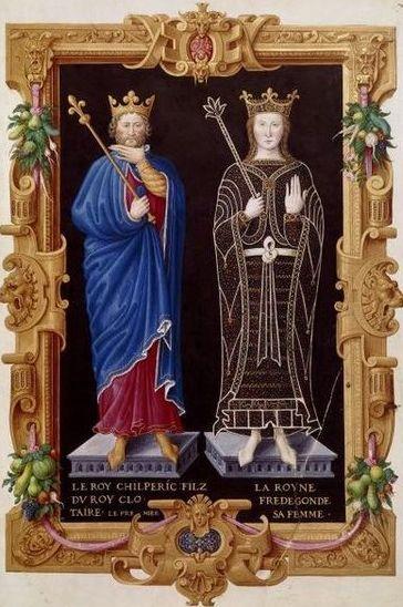 Chilpéric Ier, son frère, et sa 3ème épouse Frédégonde