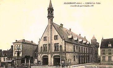 Clermont oise cpa l hotel de ville en 1917