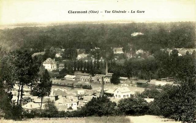 Clermont oise cpa la gare vue aerienne