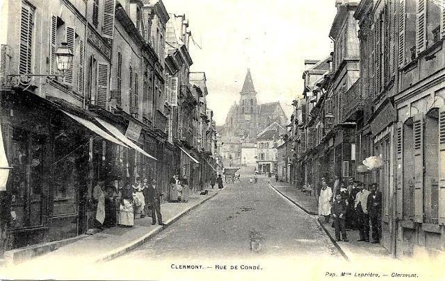 Clermont oise cpa la rue de conde en 1904