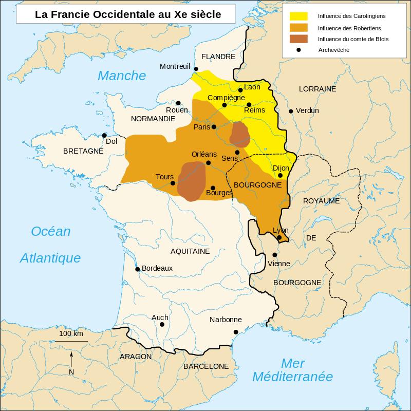 Carte du comté de Blois (Carolingien et Robertien)