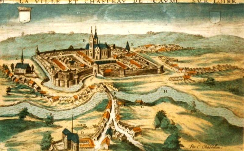 Cosne-Cours-sur-Loire (Nièvre) La ville, gravure de 1640