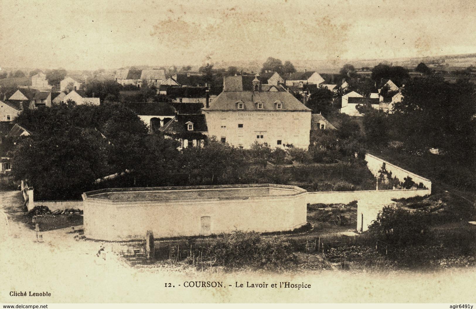 Courson-les-Carrières (89) L'hospice et le lavoir CPA