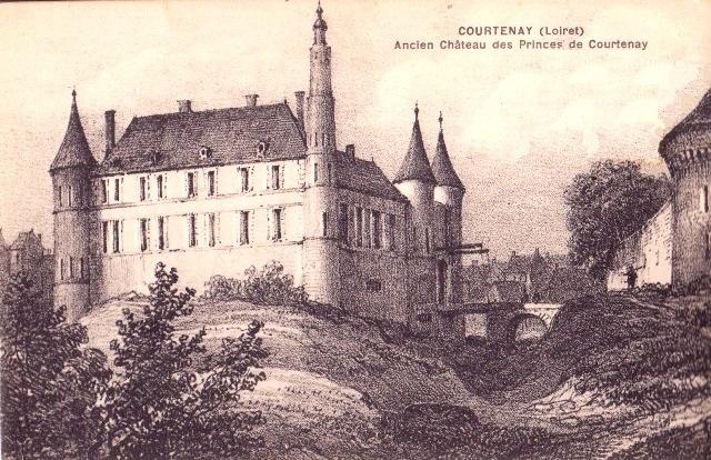 Courtenay (45) Château ancien, gravure CPA