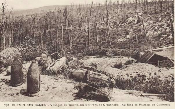 Craonnelle (Aisne) CPA tranchées, obus et casemate