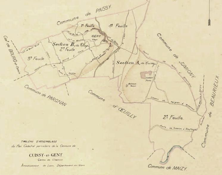 Cuissy-et-Gény (Aisne) cadastre 1827