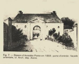 Cuissy-et-Gény (Aisne) Dessin Entrée Abbaye avant 1914