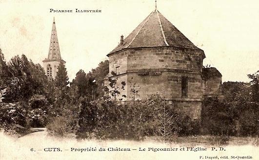 Cuts oise cpa l eglise et le pigeonnier du chateau