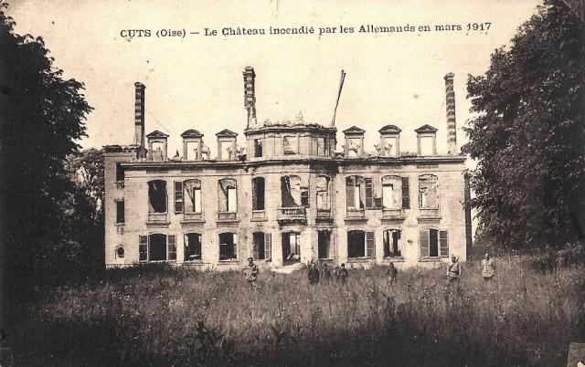 Cuts oise cpa le chateau mars 1918