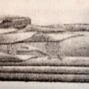 Dessin du gisant de Rollon, avant sa destruction en 1944