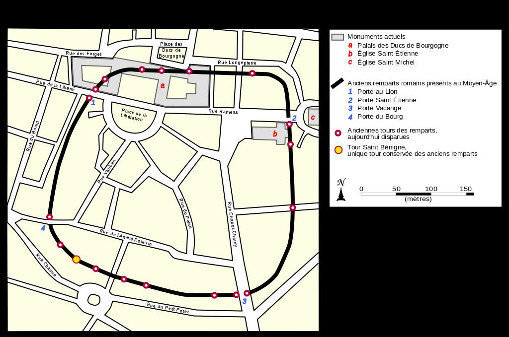 Dijon (Côte d'Or) Le plan du castrum