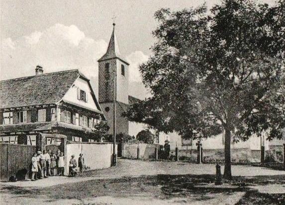 Dossenheim kochersberg 67 mairie et eglise cpa