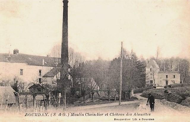 Dourdan essonne le chateau des alouettes et moulin choiselier cpa