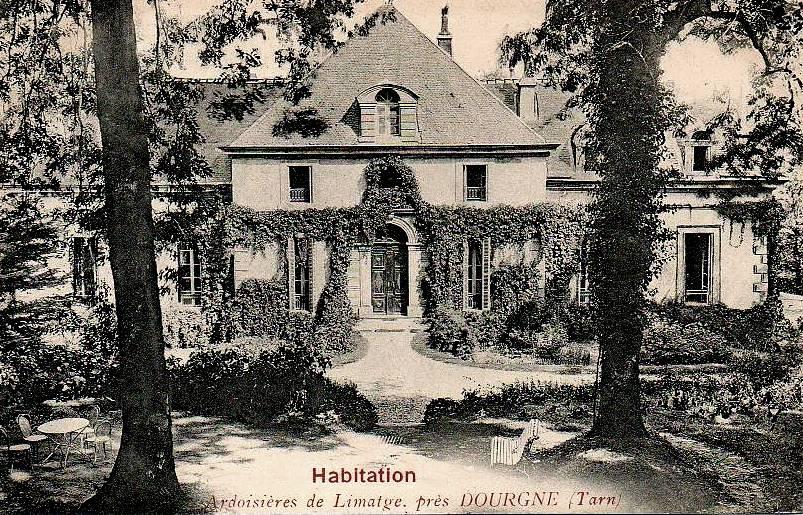 Dourgne (Tarn) CPA Habitation, ardoisières de Limatge