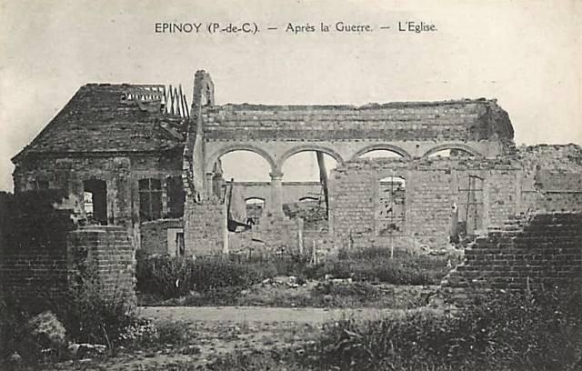 Epinoy pas de calais l eglise apres 1918 cpa