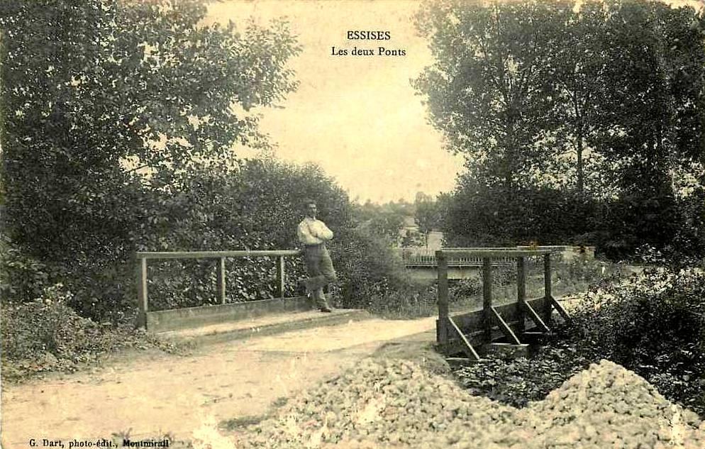 Essises (Aisne) CPA Les deux ponts en 1908