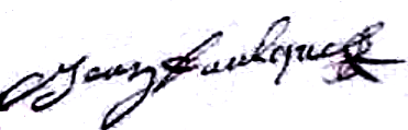 Faulques Jean (1691/1767), sa signature en 1750