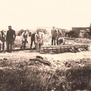 Fontaine-en-Dormois (51) 1914-1918, construction du chemin de fer CPA