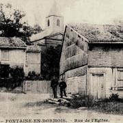 Fontaine-en-Dormois (51) La rue de l'église CPA