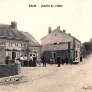 Fours (Nièvre) Le café de la gare CPA