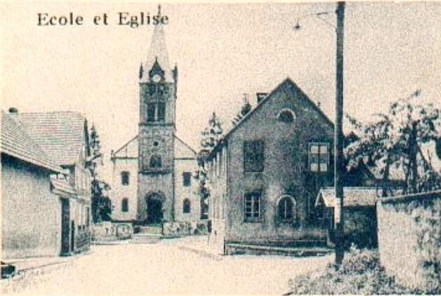 Gingsheim 67 l ecole et l eglise saint nicolas cpa