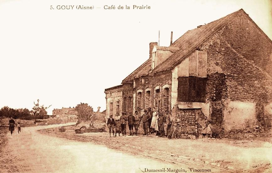 Gouy (Aisne) CPA Café de la prairie